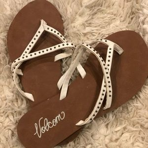 Volcom white studded sandal/flip flop - size 5